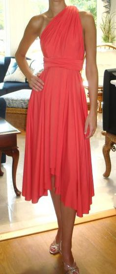 Coral Wedding Bridesmaid Dress-very sophisticated