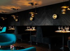 black velvet & chevron walls + gold accents / The Collection Restaurant By Tom Dixon