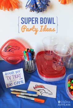 Make your own TV Trays with Rubbermaid containers and Sharpie markers! Other fun Super Bowl party ideas & decor via sisterssuitcaseblog.com #RubbermaidSharpie #PMedia #ad