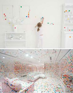 A pristine room, with every surface painted a stark shade of white, was completely covered in a chaotic jumble of colored stickers for Yayoi Kusama's installation, The Obliteration Room. Constructed at the Queensland Gallery of Modern Art, the installation gave the room over to thousands of sticker-armed children over a period of two weeks. By the end of the installation, the white surfaces were barely visible.