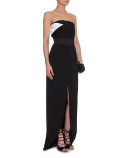Prabal Gurung Strapless satin and crepe gown