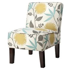 Love the print on this armless chair! Teal blue, gray, chartreuse (green/yellow), ivory.
