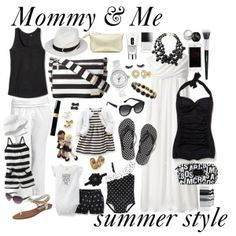 """""""Mommy and Me Summer Style"""" Black and white outfits from Old Navy, Carters and JujuBe Mother Daughter Outfits, Mommy And Me Outfits, Mom Daughter, Family Outfits, Kids Outfits, Toddler Fashion, Kids Fashion, Mommy Fashion, Matching Outfits"""