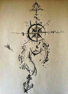 ein schwarzer kompass und anker   idee für einen tollen compass tattoo, die ihnen sehr gut gefallen könnte