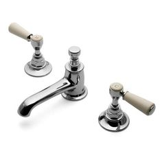Highgate Three Hole Deck Mounted Lavatory Faucet with White Porcelain Lever Handles