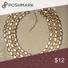 Silver tone/taupe tone beads Collar Necklace You are looking at a beautiful silver tone collar statement Necklace with taupe colored beads accented through out...thanks for looking ? Jewelry Necklaces