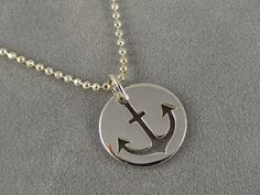Sterling Silver Anchor Cutout Charm Necklace  by sunflowerjewelry, $34.00