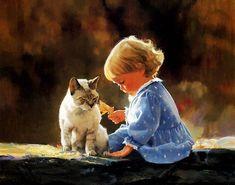 дети и животные картины, девочка и кот картина, дети в живописи, красивые картины с детьми