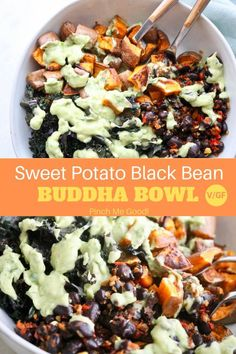 Sweet Potato Buddha Bowl – With Black Beans Perfectly seasoned, roasted sweet potatoes, garlicky sautéed kale, amazing cooked black beans with onions and peppers all [. Whole Food Recipes, Cooking Recipes, Recipes Dinner, Veggie Recipes For One, Recipes With Beans Healthy, Super Food Recipes, Yummy Healthy Recipes, Veggie Lunch Ideas, Crockpot Recipes