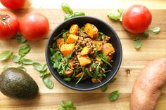 Warm Lentil and Sweet Potato Salad - Warm the soul with this Lentil and Sweet Potato Salad with arugula and a delicious mustard dressing. A perfect midday lunch or soothing dinner recipe for any night of the week.