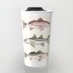 "Ceramic Travel Mug ••• ""Inshore Slam"" Redfish, Snook, and Trout art by Amber Marine ••• AmberMarineArt.com •••"