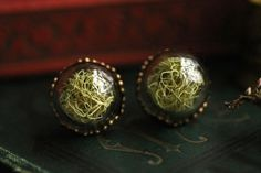 Magical little woodland lichen stud earrings, made with real Old mans beard lichen carefully preserved in two tiny hand blown glass orbs and