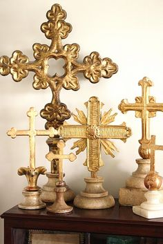 ∷ Variations on a Theme ∷ Collection of altar crosses Religious Icons, Religious Art, Old Rugged Cross, Sign Of The Cross, Memento Mori, Spiritus, In Vino Veritas, Le Jolie, Gold Cross