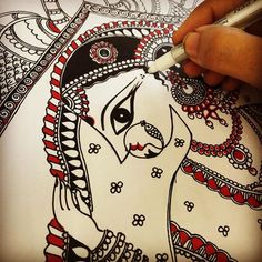 "123 Likes, 8 Comments - Swati Palekar (@swayamfolkartpainting) on Instagram: ""Dulhan..A beautiful indian bride in her palanquin!!! #madhubani #dulhan #indianbride#folkart…"""
