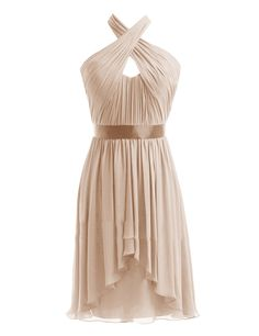 Diyouth Halter High-low Short Bridesmaid Dresses Belted Evening Party Gowns at Amazon Women's Clothing store: