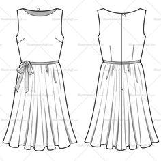 Women's Ruffle Ribbon Dress Fashion Flat Template