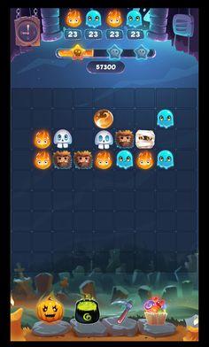 """Незавершенный UI игры """"Halloween monsters match 3"""". Впоследствии практически все элементы были использованы в финальном варианте. От дальнейшей разработки редизайна пришлось отказаться из-за сроков сдачи проекта."""
