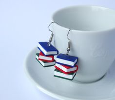 Book earrings dangle stack blue red green books polymer clay