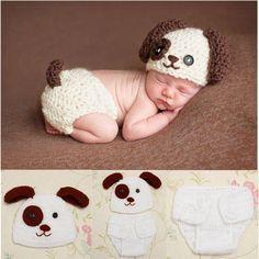 Fotoshooting-Neugeborene-Baby-Sets-Poppy-Strick-Kostuem-Gestrickt-Muetze-Hose