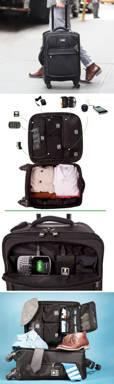This carry-on charges your devices and compresses your laundry. How convenient!