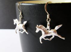 Animal Earrings, Silver Running Horse Dangle Earring, 925 Sterling Silver Fish Hooks, Gifts For Her, Gifts For Riders.