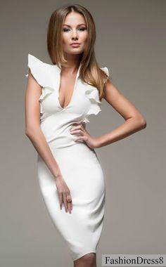 SaleChic White Dress WomanRuffled Sleeve Wedding par FashionDress8