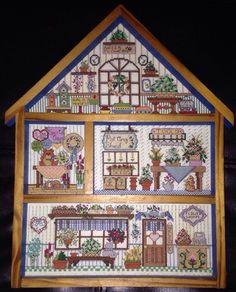 Framed Cross Stitch Flower Shoppe House Dried Flowers 9.5x12.75