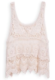 Beige Scoop Neck Sleeveless Lace Vest US$18.63