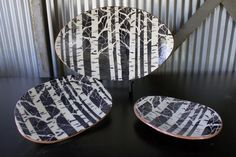 Aspen Trees - Jon Loer 2013 - earthenware with black and white engobe stenciled trees.