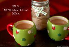 Home - A Kitchen Addiction Fish Cakes Recipe, Chai Tea Recipe, Jar Gifts, Gift Jars, Food Gifts, Coffee Recipes, Drink Recipes, Pumpkin Recipes, Cocoa Tea