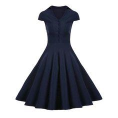Buttoned A Line Vintage Dress - Purplish Blue M Mobile