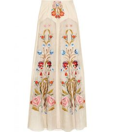 Toledo floral embroidered silk skirt