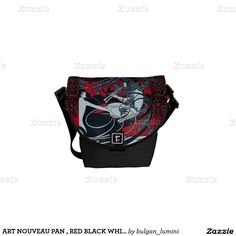 ART NOUVEAU PAN , RED BLACK WHITE DAMASK ,Ruby Courier Bag