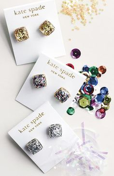 kate spade new york boxed glitter stud earrings | Nordstrom