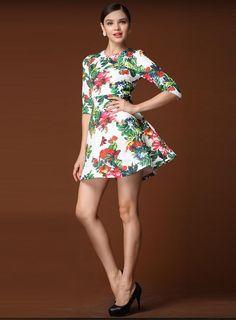 Fashionable Europe Style Half Sleeve Petty Flowers Dress