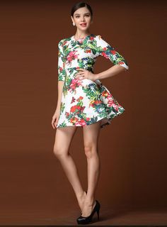 Fashionable Europe Style Half Sleeve Petty Flowers Dress