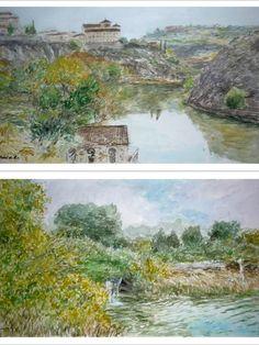 Dos acuarelas que he pintado recientemente de dos paisajes distintos de Castilla la Mancha como son el río Tajo a su paso por Toledo y las Lagunas de Ruidera en Ciudad Real.  En ambas la luz y el reflejo del cielo sobre las aguas son algunas de las cosas que tienen en común así como el otoño que queda reflejado en ambas pinturas y el formato. Encargos personalizados y información: Tel. 616 46 21 58 (también WhatsApp) ruben@rubendeluis.com Painters, Watercolors, City, Sky, Scenery, Artists, Hipster Stuff