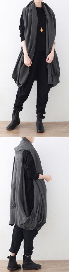 de05836e7f9087 vintage gray vest scarf coat oversize asymmetrical hem cardigans   Coats  boutique sleeveless coats