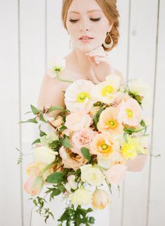 Spring floral wedding bouquet: http://www.stylemepretty.com/2017/04/20/fresh-spring-editorial-inspired-by-the-warm-texas-sun/ Photography: Ivory & Bliss - http://ivoryandbliss.com/
