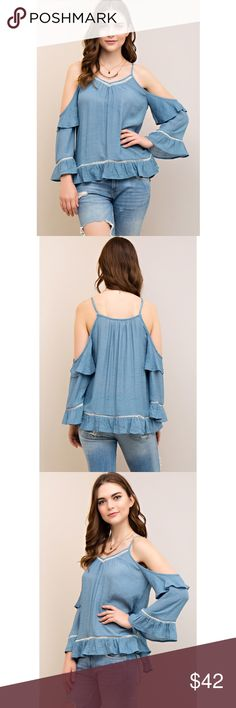 "Open Shoulder Bell Sleeve Light Blue Blouse •Small•     Bust: 20""  Length: 26"" •Medium•    Bust: 22""""  Length: 27"" •Large•    Bust: 22.5""  Length: 27.5""  Condition: No Rips; No Stains  65% Rayon 35% Polyester   📦I ship orders within 24 Hours! {Except Weekends}📦  🚫No Trades🚫No Holds🚫 Judy_Boutique Tops Blouses"