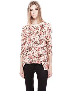 Apricot Half Sleeve Floral Asymmetrical T-Shirt US$27.33