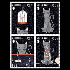 Cats in Art and Illustration: Cat Stamps by Dana Goldberg Crazy Cats, I Love Cats, Images Alphabet, Art Postal, Mail Art, Stamp Collecting, Postage Stamps, Kitsch, Illustrations Posters