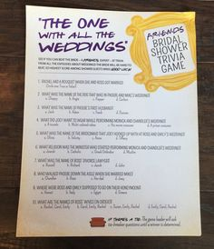 FRIENDS TV Show TRivia Bridal Shower Game Printable, FRIENDS Trivia Quiz, Bridal Shower Game, The One With All the Weddings