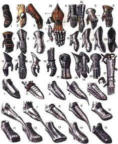 Gauntlets and Armor footwear, 13-15 century