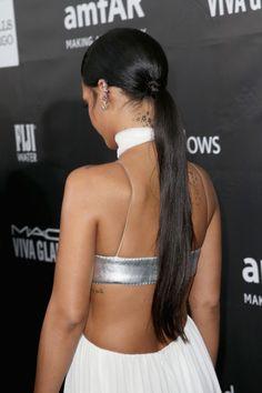 Rihan's sleek ponytail at the 2014  FIJI Water At amfAR's Inspiration LA Gala
