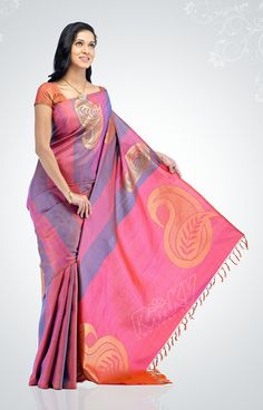 Pink-purple silk saree with scattered paisley motifs - RmKV Silks
