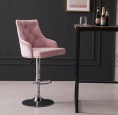 Gold Kitchen, Kitchen Dining, Pink Bar Stools, Breakfast Bar Stools, Close To Home, Pink Velvet, Table And Chairs, Free Delivery, Blush Pink