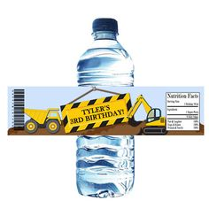 Construction Dump Trucks Tractors Dirt Birthday Water Bottle Wrapper Party Favor Digital or Printed FREE SHIPPING by PartiesR4Fun on Etsy
