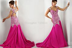 2014 Ritzee Originals Prom Party Dress Mermaid Long Rosy Chiffon Beaded Crystal Elegant Evening Gown Robe De Soiree US $225.00