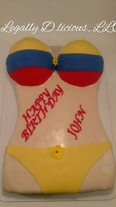 Bikini cake with Columbian flag colors.
